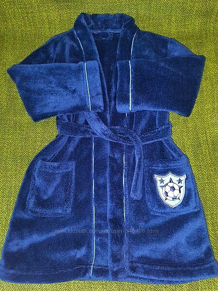 Синий халат махровый без капюшона Next. 4-5лет, 104-110см.