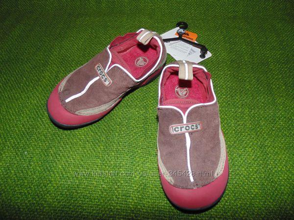 Бордово-коричневые кроссовки, слипоны CROCS, С11, европ.28, 18см.
