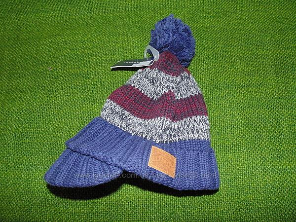 Теплая полосатая шапка с козырьком Reserved. Размер-1-4г. Новая.
