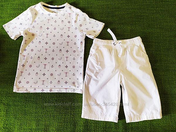 Белая футболка в морском стиле TU. 7-8лет, 122-128см