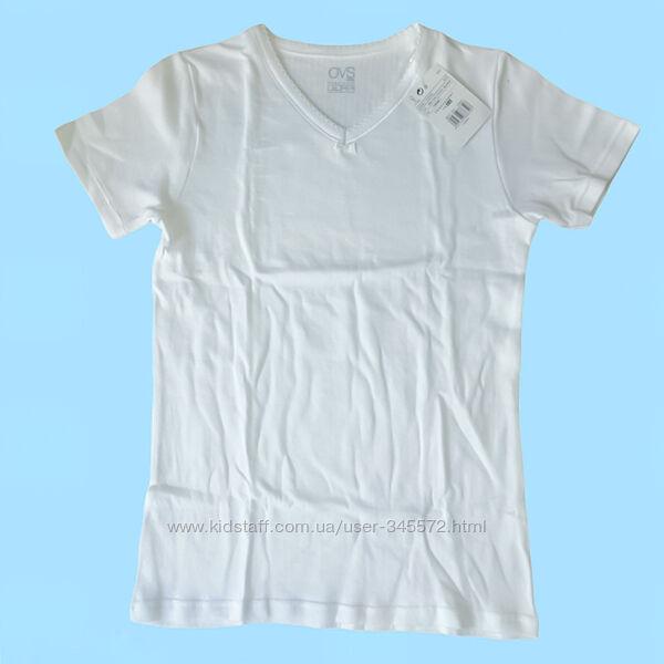 Белая футболка OVS, Италия для девочек, рост 128-134см.