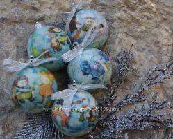 Набор новогодних шаров ручной работы с тубусом Новый год из детства