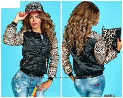 Женская черная куртка с рукавами Лео