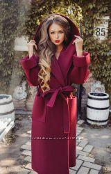Шикарное женское утепленное пальто БОРДОВОЕ