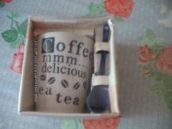 НОВАЯ Чашка с ложкой в упаковке