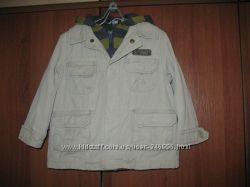 Джинсовый пиджачек на хб подкладке с капюшоном