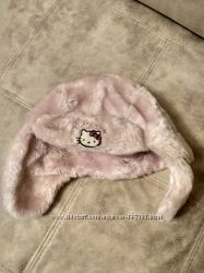 Теплая зимняя шапка девочке на 3-5 лет Hello Kitty