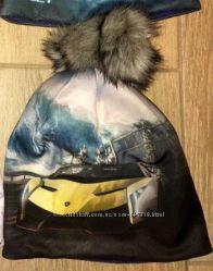 Утепленная шапка Boobon с 3Д-принтом с бубоном size 50-53 для мальчика