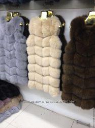 Модные и стильные меховые жилеты из натурального песца под заказ