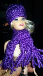 Набор - шапка и шарф для кукол Барби