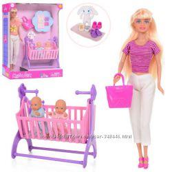 Кукла с ребенком Defa 8359 BF 2 пупса, кроватка, аксессуары