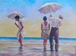 Копия картины Джека Веттриано Прогулка по пляжу