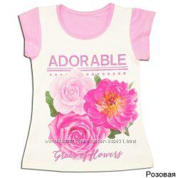 Детская футболка фуфайка для девочки Цветы ТМ Габби, р-ры 98-104