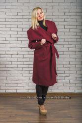 Пальто женское кашемировое бордо