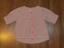 рубашка розовая в горошек carters 24мес