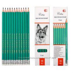 Чернографитные карандаши с ластиком. Гнущиеся. Набором и поштучно