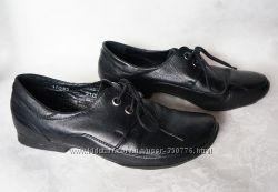 туфли ботинки 36-37й размер чёрные натуральная кожа пр-во Украина