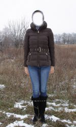 пуховик  Zara  коричневого цвета, гусиный пух, отличное состояние