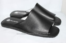 Мужские кожаные тапочки мод. 160 черные  все размеры