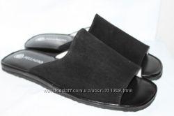 Мужские замшевые тапочки мод. 160 черные все размеры