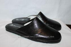 Мужские кожаные тапочки мод. 721 черные все размеры