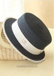 Соломенная шляпа канотье Chanel синяя
