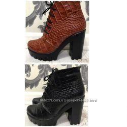 ботинки кожаные замшевые