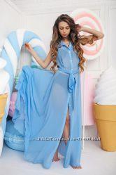 Пляжное платье Туника шифоновая с пуговицами Размер универсал Много цветов