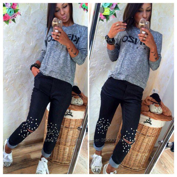 2f531cc1b5d Модные джинсы стрейч порезы на коленях с декор жемчугом Выбор цвета и разм. Женские  джинсы - Kidstaff