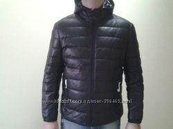 Moncler мужская зимняя кожаная куртка пуховик Монклер