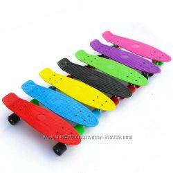 Скейт Penny board 22 дюйма цветные и светящиеся колеса