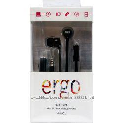 качественные наушники Ergo VM-901 с микрофоном. Белый и черный цвет.