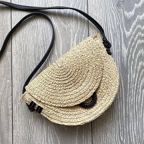 Плетёная соломенная сумка через плечо zara
