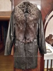 Кожанное теплое пальто с натуральным мехом