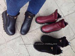 Зимние женские ботинки Кожа и замша