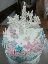 Новогодние украшения на торт