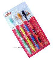 Бамбуковая зубная щетка 4 шт. упаковка, разноцветные