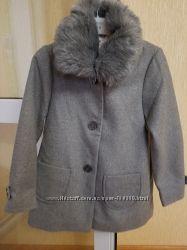 Пальто серое НM на 5-6лет 116 рост