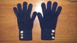 Тёмно-синие тёплые перчатки з золотыми пуговками