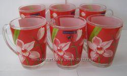 Красивые яркие чашки французского бренда Люминарк LUMINARC Орхидея новые