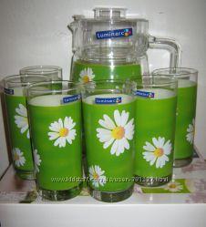 Набор для напитков Люминарк Luminarc Green 7 предметов качество новый