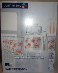 Набор из 6 стаканов и кувшин Люминарк Luminarc Sweet  новый