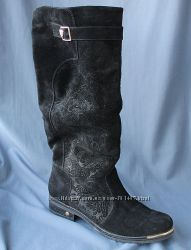 Зимние замшевые сапоги 41 размер. До колен