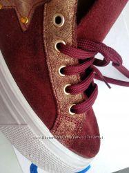 Замшевые кеды Италия на платформе 4 см марсала кожаные ботинки вишневые