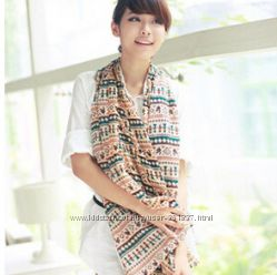 Женский стильный шарфик с узором на весну весенний легкий шарф платок шаль