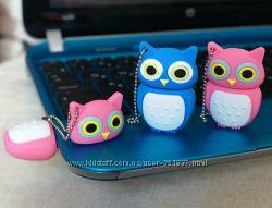 Флешка СОВА, флеш память USB в виде совы, розовый синий подарок девочке