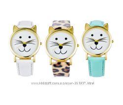Женские наручные часы Котик в виде кота, кошки, белый, мятный, леопардовый