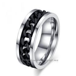 Стильное мужское кольцо Black Chain с черной цепью, ювелирная сталь 316L