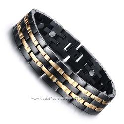 Стильный мужской магнитный стальной браслет лечебный подарок мужчине парню