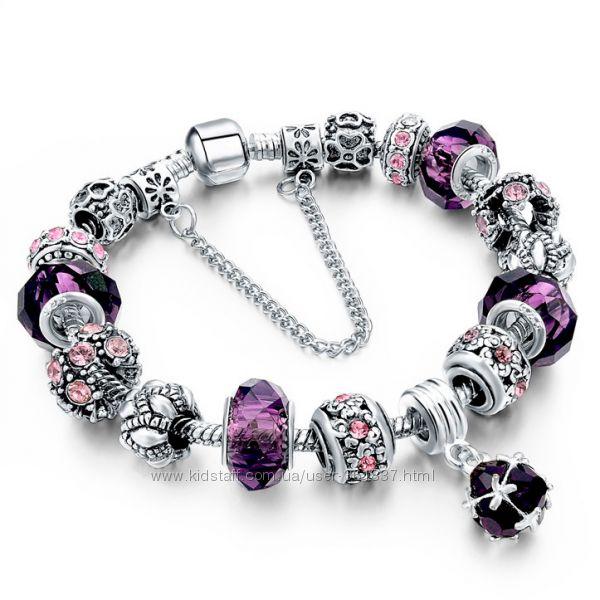 Браслет в стиле Pandora Пандора Пурпур копия фиолетового пурпурного цвета